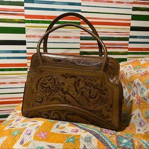 Vintage Tooled Vegan Leather Mexico Handbag Purse